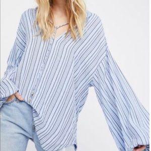 Free people blue striped tunic top size medium NWT